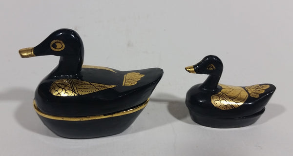 Decorative Black Lacquer with Gold Wings Mother and Baby Duck Lidded Containers - Treasure Valley Antiques & Collectibles