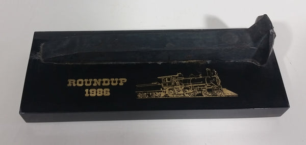 CP Rail Canadian Pacific Railway 1986 Roundup Rail Spike in Lucite - Treasure Valley Antiques & Collectibles