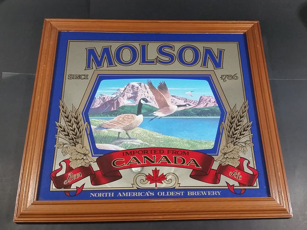 Vintage Molson Canadian Since 1786 Canada Goose Mountain Lake Scene Advertising Mirror - Treasure Valley Antiques & Collectibles