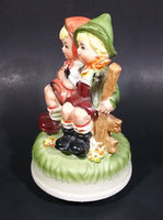 Vintage Hummel Style Bavarian German Boy and Girl Ceramic Rotating Music Box - Treasure Valley Antiques & Collectibles