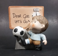 "1982 Enesco Soccer Boy With Scoreboard Timer Clock ""Dear God, Let's Go"" Ceramic Figurine - Treasure Valley Antiques & Collectibles"