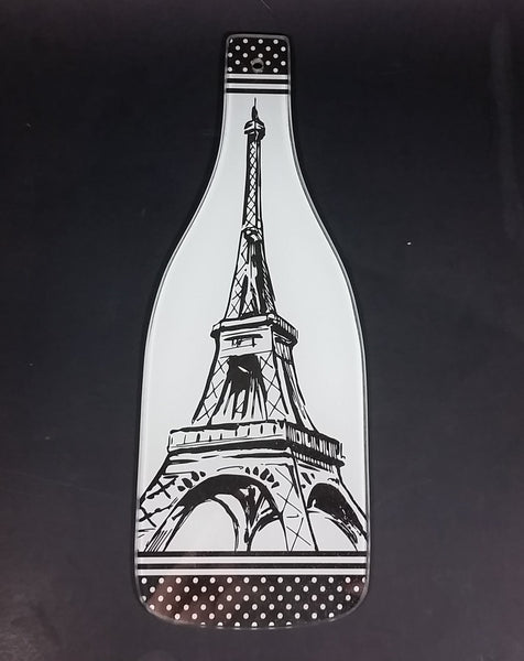 Wine Bottle Shaped Black and White Eiffel Tower Design Glass Cheese Cutting Board - Treasure Valley Antiques & Collectibles