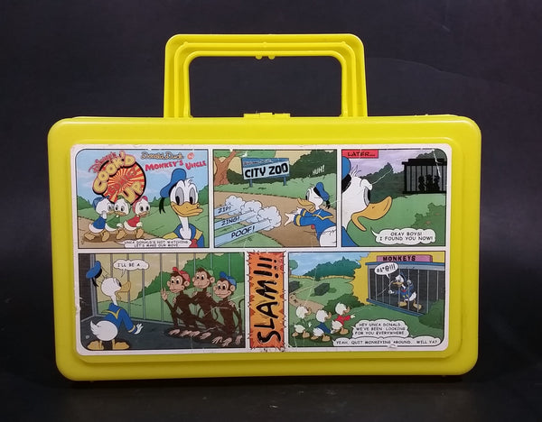 Vintage Disney's Cook'd Up Comics Donald Duck The Monkey's Uncle Yellow Plastic Pencil Case - Treasure Valley Antiques & Collectibles
