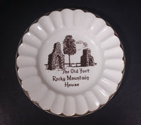 "Vintage ""The Old Fort"" Rocky Mountain House 22K Gold Trim Ashtray - Treasure Valley Antiques & Collectibles"