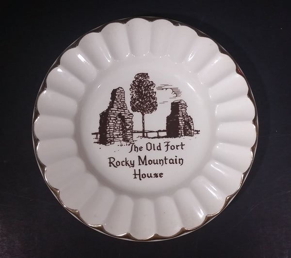 "Vintage ""The Old Fort"" Rocky Mountain House 22K Gold Trim Ashtray"