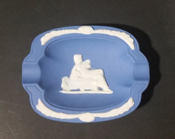 Vintage Wedgewood Style Jasperware Blue Cameo Pin/Ash Tray - Treasure Valley Antiques & Collectibles