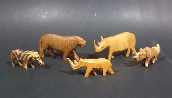 Vintage Wooden Hand Carved African Animals Set of 5 - Treasure Valley Antiques & Collectibles
