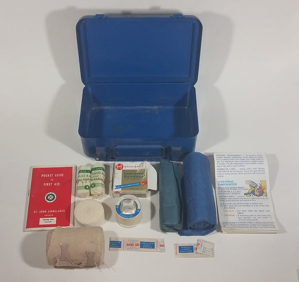 Vintage City of Calgary St. John Ambulance Johnson & Johnson Supplies Blue First Aid Kit - Treasure Valley Antiques & Collectibles