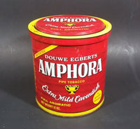 Vintage Douwe Egberts Amphora Pipe Tobacco Extra Mild Cavendish 12oz Red Tin Can - Empty - Treasure Valley Antiques & Collectibles