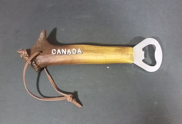 Canada Deer Antler Horn Bar Beverage Metal Bottle Opener with Rawhide Hanger - Treasure Valley Antiques & Collectibles