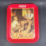 "1988 Coca-Cola Coke Soda Pop ""Village Blacksmith"" Red Metal Beverage Serving Tray - Treasure Valley Antiques & Collectibles"