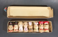 Vintage Family Papa Mama Brother Sister Handpainted Wood Salt & Pepper Shakers In Box - Treasure Valley Antiques & Collectibles