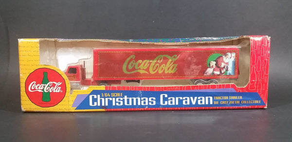1996 Ertl Coca-Cola Coke Santa Claus Christmas Caravan Semi Tractor Trailer Diecast Toy Car - Treasure Valley Antiques & Collectibles