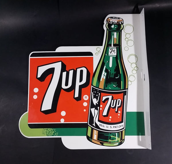 Rare Vintage Style Large 7-Up 7up Seven-Up Soda Pop Double Sided Porcelain Metal Sign - Treasure Valley Antiques & Collectibles