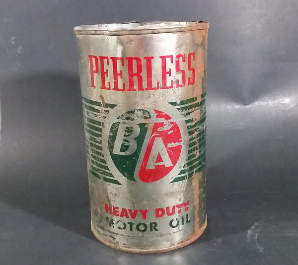 Vintage BA Peerless British American Heavy Duty Motor Oil 1 Imperial Quart Can - Treasure Valley Antiques & Collectibles