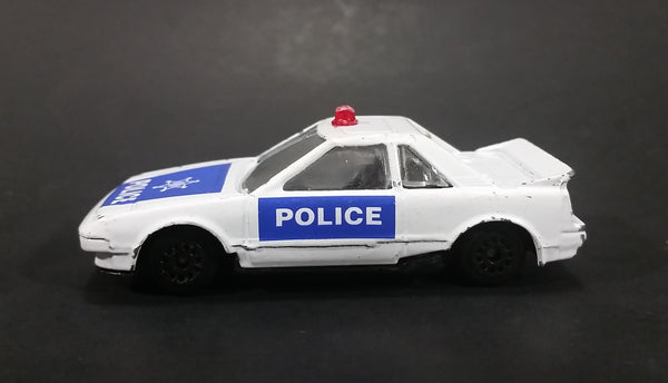 1980s Zee Zylmex Toyota MR2 White and Blue Police Car No. D81 Emergency Die Cast Toy Vehicle