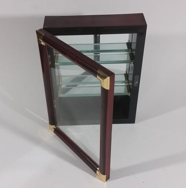 Small Wooden Wall Display Shelf Box with Mirror Backing, Glass Shelves, Glass Gold Look Metal Corner Door - Treasure Valley Antiques & Collectibles