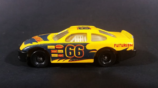 "1980s Unknown Brand #66 Stock Car ""Futurism"" No. 8106 Yellow Die Cast Toy Race Car - Treasure Valley Antiques & Collectibles"