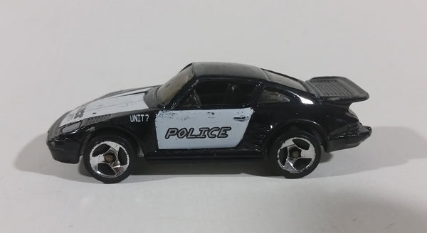1989 Hot Wheels Porsche 930 Black and White Police Unit 7 Die Cast Toy Car - Treasure Valley Antiques & Collectibles