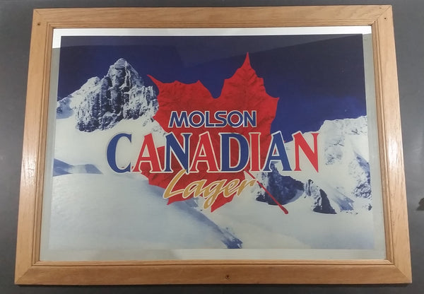 "Large Molson Canadian Lager Beer Mountain Scene Oak Framed Advertising Mirror 34"" x 26"" - Treasure Valley Antiques & Collectibles"