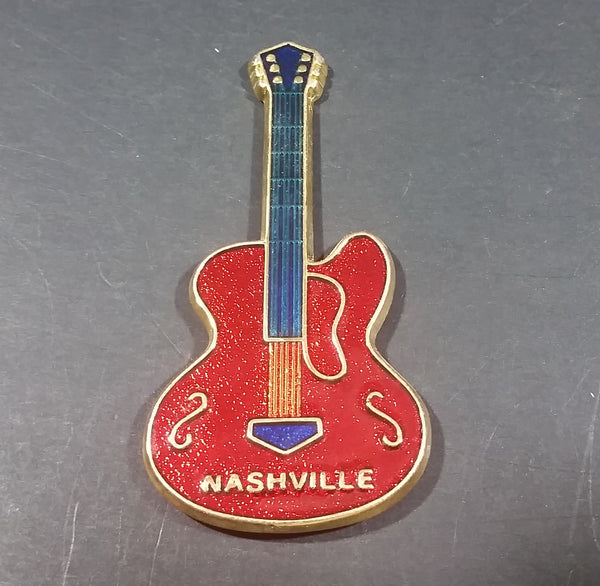 Nashville, Tennessee Red Blue Gold Guitar Shaped Fridge Magnet - Treasure Valley Antiques & Collectibles