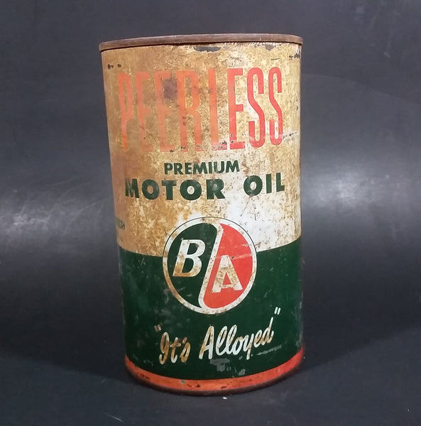 Vintage BA Peerless British American Premium Motor Oil 1 Imperial Quart Can - Treasure Valley Antiques & Collectibles