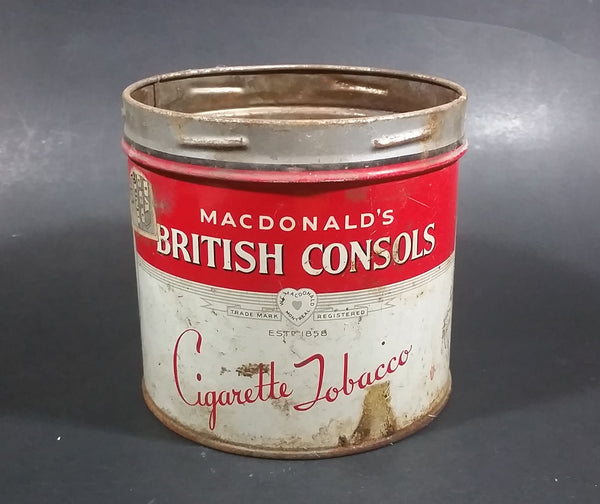 Vintage W.C. Macdonald's British Consols Cigarette Tobacco Red & White Tin Can - No lid - Treasure Valley Antiques & Collectibles