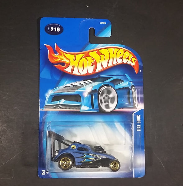 2003 Hot Wheels Fiat 500c Blue Turbo Flame Die Cast Toy Car #219 31/32 New w/ Blue Card - Treasure Valley Antiques & Collectibles