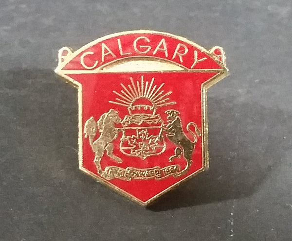 City of Calgary Coat of Arms Red and Gold Enamel Lapel Pin - 1884 Onwards 1894 - Treasure Valley Antiques & Collectibles