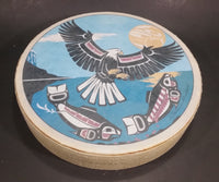 Clarence A. Wells Port Simpson, B.C. Aboriginal Art Eagle and Salmon Deer Hide Rimmed Drum Print - Treasure Valley Antiques & Collectibles