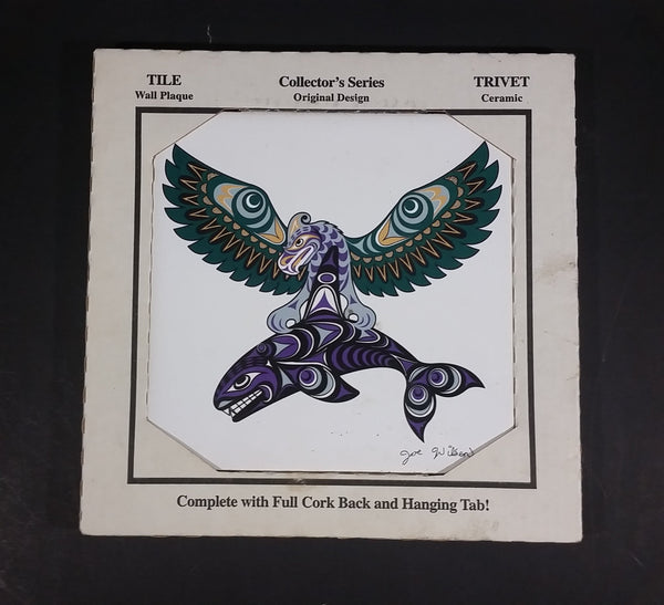 "Joe Wilson ""Thunderbird and Killer Whale"" Salish Aboriginal Art Ceramic Trivet Signed - Treasure Valley Antiques & Collectibles"