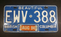 1984 Beautiful British Columbia Blue with White Letters Vehicle License Plate - Treasure Valley Antiques & Collectibles