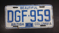 1970 Beautiful British Columbia White with Blue Letters Vehicle License Plate - Treasure Valley Antiques & Collectibles
