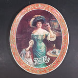 "Vintage 1970s Pepsi Cola ""Lady Gibson"" Oval Orange Border Beverage Serving Tray - Treasure Valley Antiques & Collectibles"