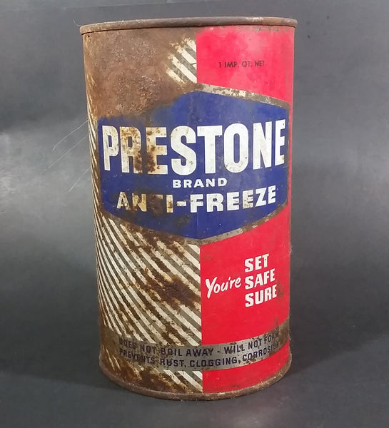 Vintage Prestone Brand Anti-Freeze Coolant Red Blue 1 Imperial Quart Can - EMPTY - Treasure Valley Antiques & Collectibles