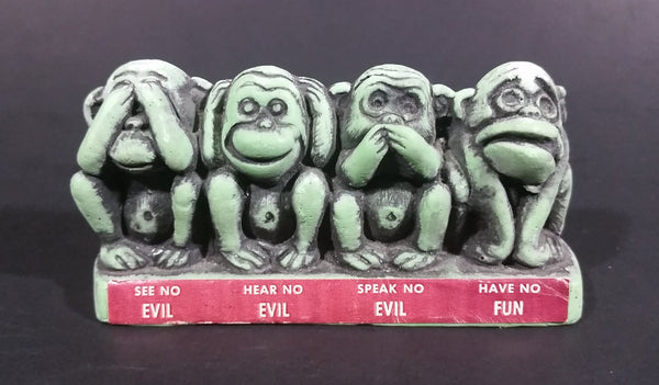 Vintage Cal Themes Inc. 1968 4 Wise Monkeys See No Evil Have No Fun Green Chalk Ware Figurine - Treasure Valley Antiques & Collectibles