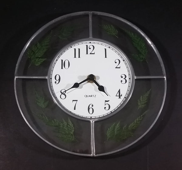 "Round Metal Frame Clear Glass with Fern Evergreen Leaves Decor 9"" Wall Clock - Working - Treasure Valley Antiques & Collectibles"