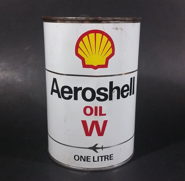 Vintage Shell Aeroshell Aviation Motor Oil W One Litre Bilingual English French Can - Empty - Treasure Valley Antiques & Collectibles