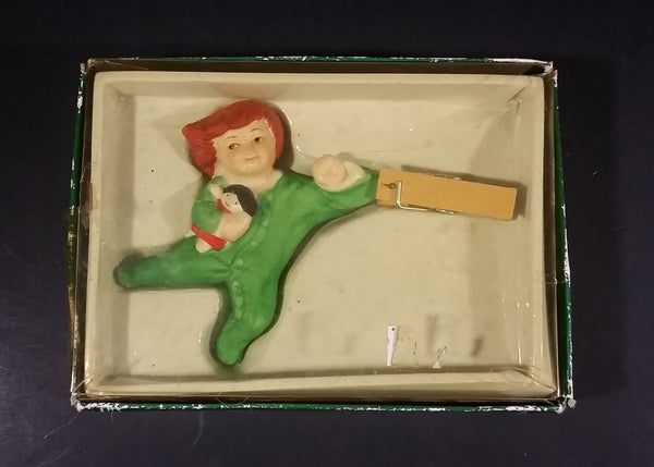 1984 Eileen Richardson Porcelain Clothespin Kid Hand Painted Christmas Tree Ornament with Box - Treasure Valley Antiques & Collectibles