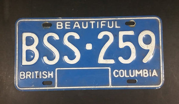 Early 1980s Beautiful British Columbia Blue with White Letters Vehicle License Plate - Treasure Valley Antiques & Collectibles