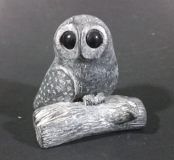 A Wolf Original Barn Owl On A Log Soapstone Carved Sculpture Ornament w/ Original Sticker - Treasure Valley Antiques & Collectibles