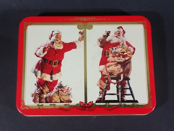 1994 Coca-Cola Coke Santa Claus Christmas Themed Playing Cards Sealed in Tin - Two Packs - Treasure Valley Antiques & Collectibles