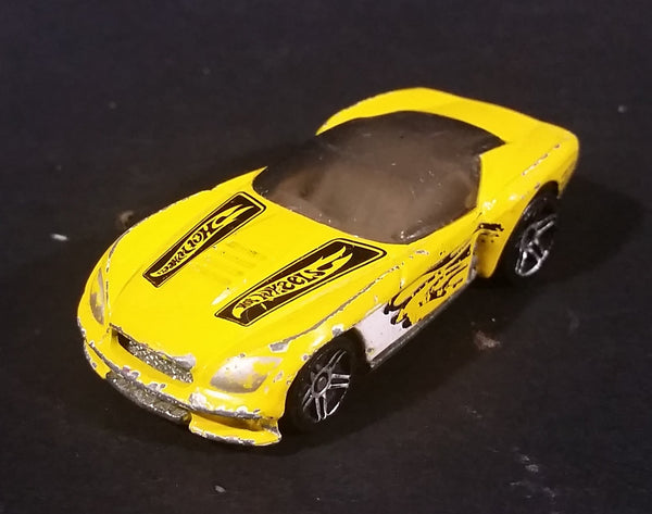 2002 Hot Wheels Pony-Up Yellow w/ White & Black Flames Die Cast Toy Race Car - Treasure Valley Antiques & Collectibles
