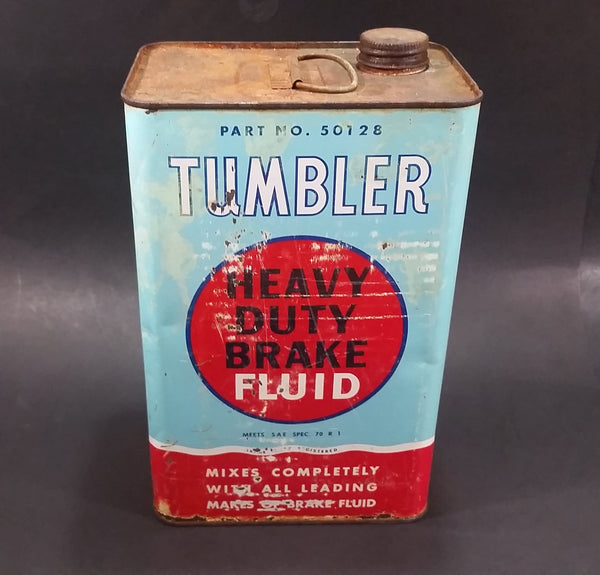 Vintage Tumbler Heavy Duty Brake Fluid Part No. 50128 Automotive Vehicle Metal Can w/ Lid - Treasure Valley Antiques & Collectibles