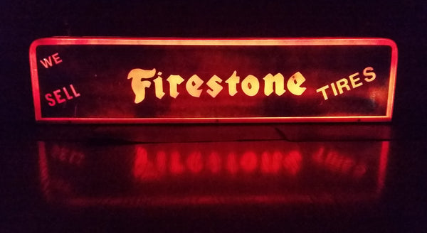"Custom Made ""We Sell"" Firestone Tires Blue and Orange Light Up Sign - Custom Reproduction - Treasure Valley Antiques & Collectibles"