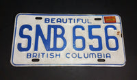 1975 Beautiful British Columbia White with Blue Letters Vehicle License Plate SNB 656 - Treasure Valley Antiques & Collectibles