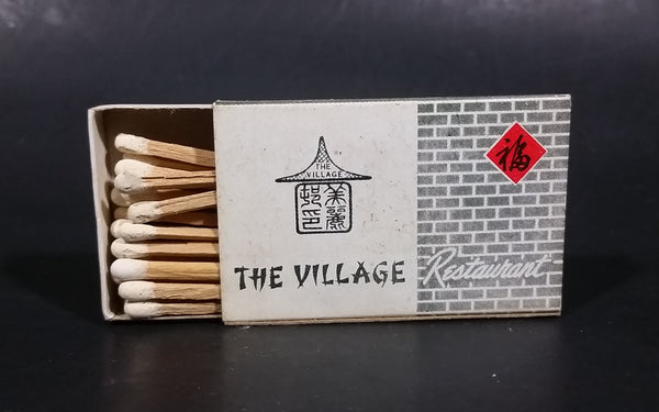The Village Restaurant Hong Kong Souvenir Promo Wooden Matches Box - Nearly Full - Treasure Valley Antiques & Collectibles
