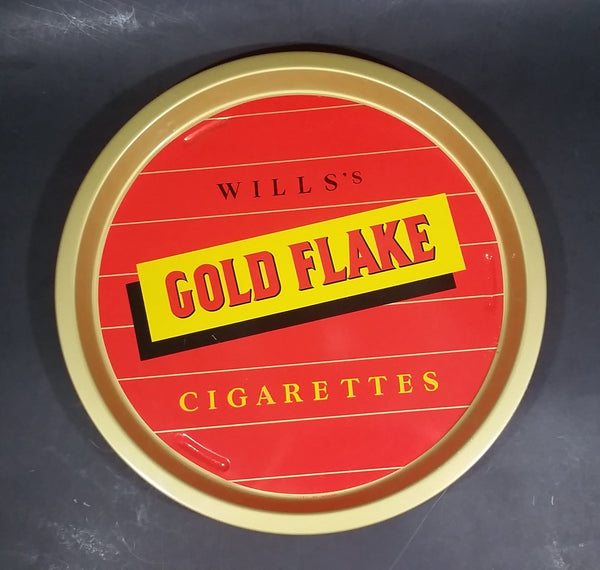 Vintage Wills's Gold Flake Cigarettes Round Metal Pub Beverage Serving Tray - Rolling Tray - Treasure Valley Antiques & Collectibles
