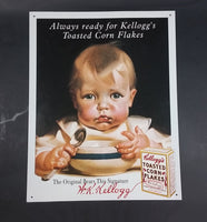 "2002 Vintage Style ""Always ready for"" Kellogg's Toasted Corn Flakes Baby Toddler Tin Sign - Treasure Valley Antiques & Collectibles"