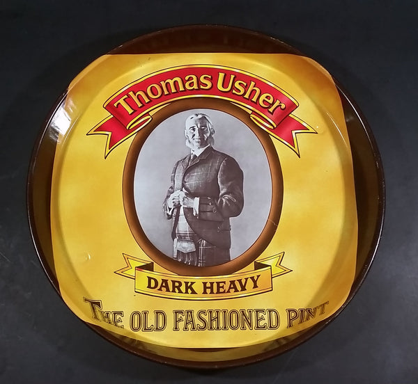 "Vintage Thomas Usher Dark Heavy The Old Fashioned Pint 12"" Round Pub Beer Beverage Tray - Treasure Valley Antiques & Collectibles"